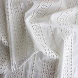 Striped Cotton Eyelet - Ivory - 1/2 meter