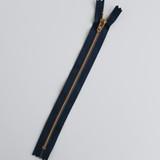 Jeans Zipper - Navy with Brass | Blackbird Fabrics