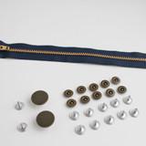 Zipper Fly Jeans Hardware Kit - Antique Brass | Blackbird Fabrics