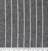 Wide Pinstripe Linen & Cotton Chambray - Charcoal/White | Blackbird Fabrics