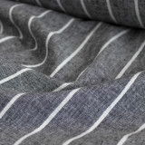 Wide Pinstripe Linen & Cotton Chambray - Charcoal/White - 1/2 meter