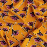 Floral Viscose Poplin - Warm Gold/Pink | Blackbird Fabrics