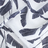 Palm Frond Linen - Navy/White | Blackbird Fabrics