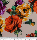 Roses Viscose Poplin - Orange/Purple | Blackbird Fabrics