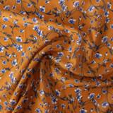 Floral Cotton & Silk Voile - Ochre/Blue/White   Blackbird Fabrics