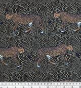 Cheetah Print Polyester Crepe - Navy/Tan   Blackbird Fabrics