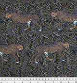 Cheetah Print Polyester Crepe - Navy/Tan | Blackbird Fabrics