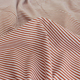 Micro Striped Bamboo & Organic Cotton Jersey Knit - Rust/White