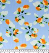 Lemons Nylon Swim Tricot - Sky Blue/Yellow/Green | Blackbird Fabrics