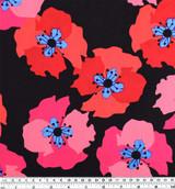 Bold Floral Viscose Poplin - Black/Red/Pink   Blackbird Fabrics