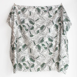 Tropical Leaf Rayon Cotton Voile - Green/White | Blackbird Fabrics