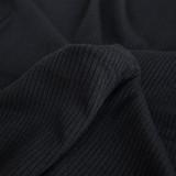 Lightweight Modal Rib Knit - Black | Blackbird Fabrics