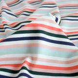 Retro Striped Cotton Jersey Knit - Seafoam/Coral | Blackbird Fabrics