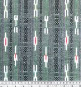 Patterned Stripe Cotton Ikat - Green/Black/Ivory - 1/2 meter