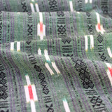 Patterned Stripe Cotton Ikat - Green/Black/Ivory | Blackbird Fabrics