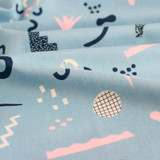 Anagram Abstract Printed Cotton - Soft Blue | Blackbird Fabrics