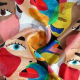 Faces Print Rayon Slub - Multi   Blackbird Fabrics