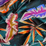Neon Tropical Leaves Viscose - Teal/Orange/Purple | Blackbird Fabrics