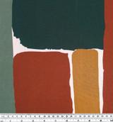 Brick Printed Viscose Challis - Green/Rust - 1/2 meter