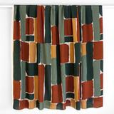 Brick Printed Viscose Challis - Green/Rust | Blackbird Fabrics