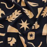 Abstract Shapes Rayon Voile - Black/Sand | Blackbird Fabrics
