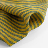 Striped Linen - Chartreuse/Teal | Blackbird Fabrics