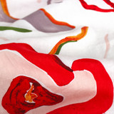 Modernist Floral Printed Linen - Ivory/Multi | Blackbird Fabrics