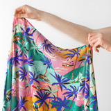 Retro Tropical Print Rayon Voile - Pink/Blue/Green | Blackbird Fabrics