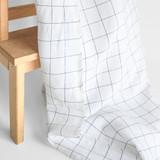 Check Linen & Cotton Blend - White/Black | Blackbird Fabrics