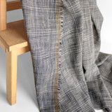 Plaid Rayon & Linen - Navy/White/Camel | Blackbird Fabrics
