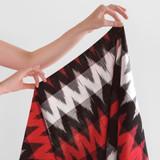 Handwoven Cotton Ikat Diamond Stripes - Red/White/Black | Blackbird Fabrics
