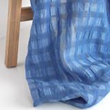 Check Linen Cotton Gauze - Blue/Pale Blue | Blackbird Fabrics