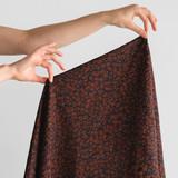 Animal Japanese Crinkle Cotton - Navy/Chocolate | Blackbird Fabrics