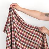 Japanese Deadstock Plaid Shirting - Burgundy/Multi | Blackbird Fabrics