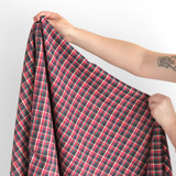 Italian Deadstock Plaid Shirting - Red/Multi   Blackbird Fabrics