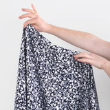 Ditsy Tapestry Floral Printed Viscose Poplin - Navy/White | Blackbird Fabrics