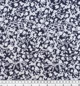 Ditsy Tapestry Floral Printed Viscose Poplin - Navy/White   Blackbird Fabrics