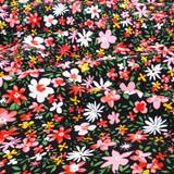 Ditsy Garden Printed Viscose Poplin - Black/Coral/Yellow   Blackbird Fabrics