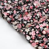 Ditsy Floral Printed Viscose Poplin - Black/Powder Pink | Blackbird Fabrics