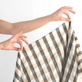 Japanese Cotton Tencel Check - Taupe/Charcoal | Blackbird Fabrics