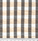 Japanese Cotton Tencel Check - Taupe/Charcoal - 1/2 meter