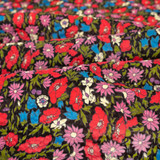 Secret Garden Japanese Crinkle Cotton - Black | Blackbird Fabrics