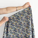 Secret Garden Japanese Crinkle Cotton - Navy | Blackbird Fabrics