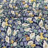 Secret Garden Japanese Crinkle Cotton - Navy   Blackbird Fabrics