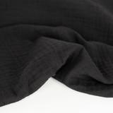 Organic Cotton Double Gauze - Black | Blackbird Fabrics