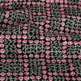 Rose Check Printed Cotton Poplin - Black/Pink | Blackbird Fabrics