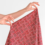 Rose Check Printed Cotton Poplin - Red | Blackbird Fabrics