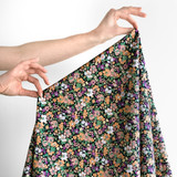 Garden Bloom Printed Cotton Poplin - Black/Multi | Blackbird Fabrics