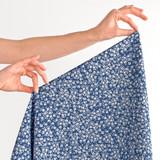 Mini Woodblock Floral Printed Cotton Poplin - Blue/White | Blackbird Fabrics