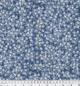 Mini Woodblock Floral Printed Cotton Poplin - Blue/White - 1/2 meter